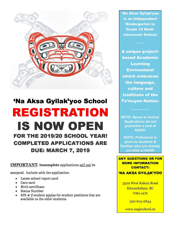 2019-2020 NAGK School Enrollment!