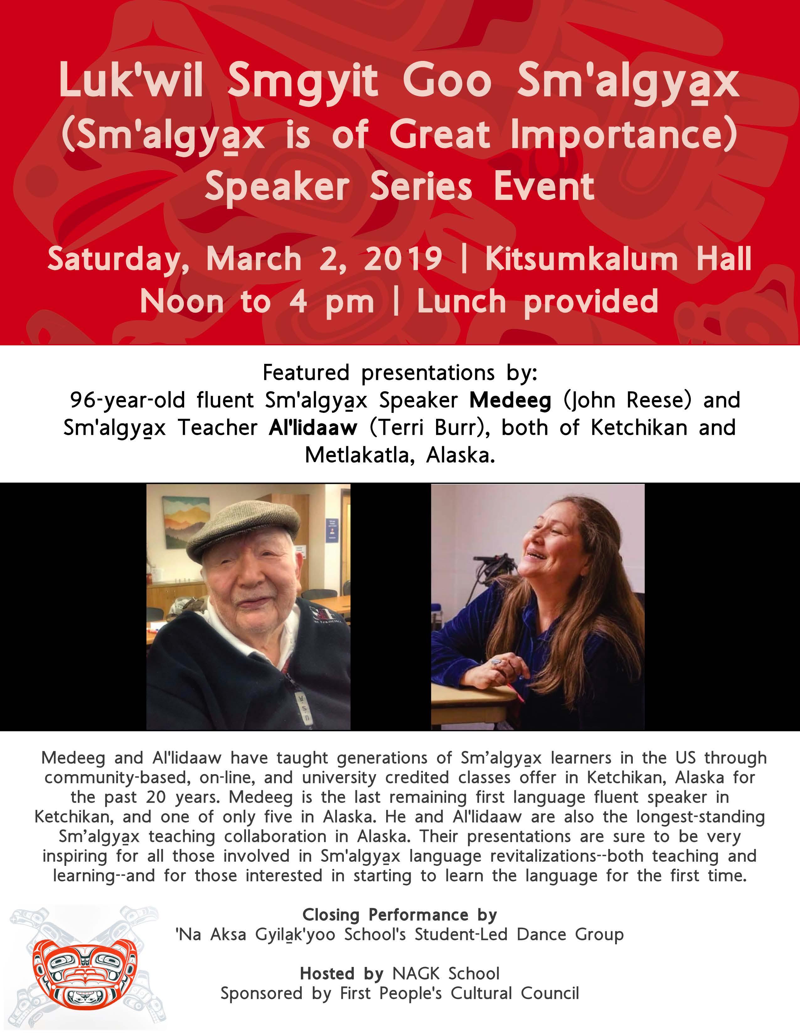 Luk'wil Smgyit Goo Sm'algya̱x Speaker Series Event