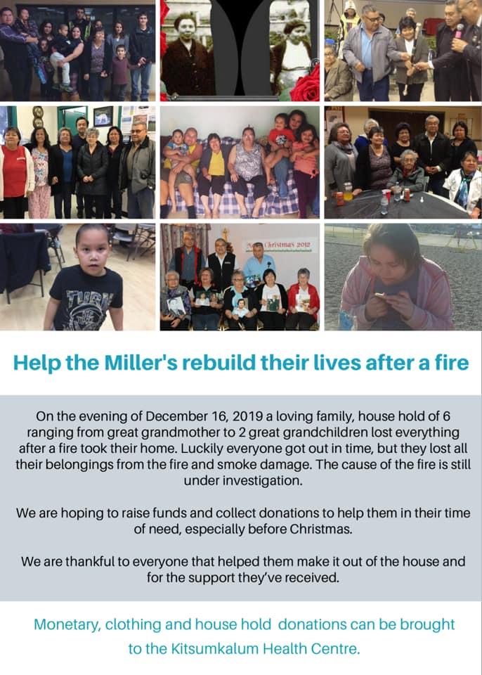 Donations for Miller Family in Kitsumkalum
