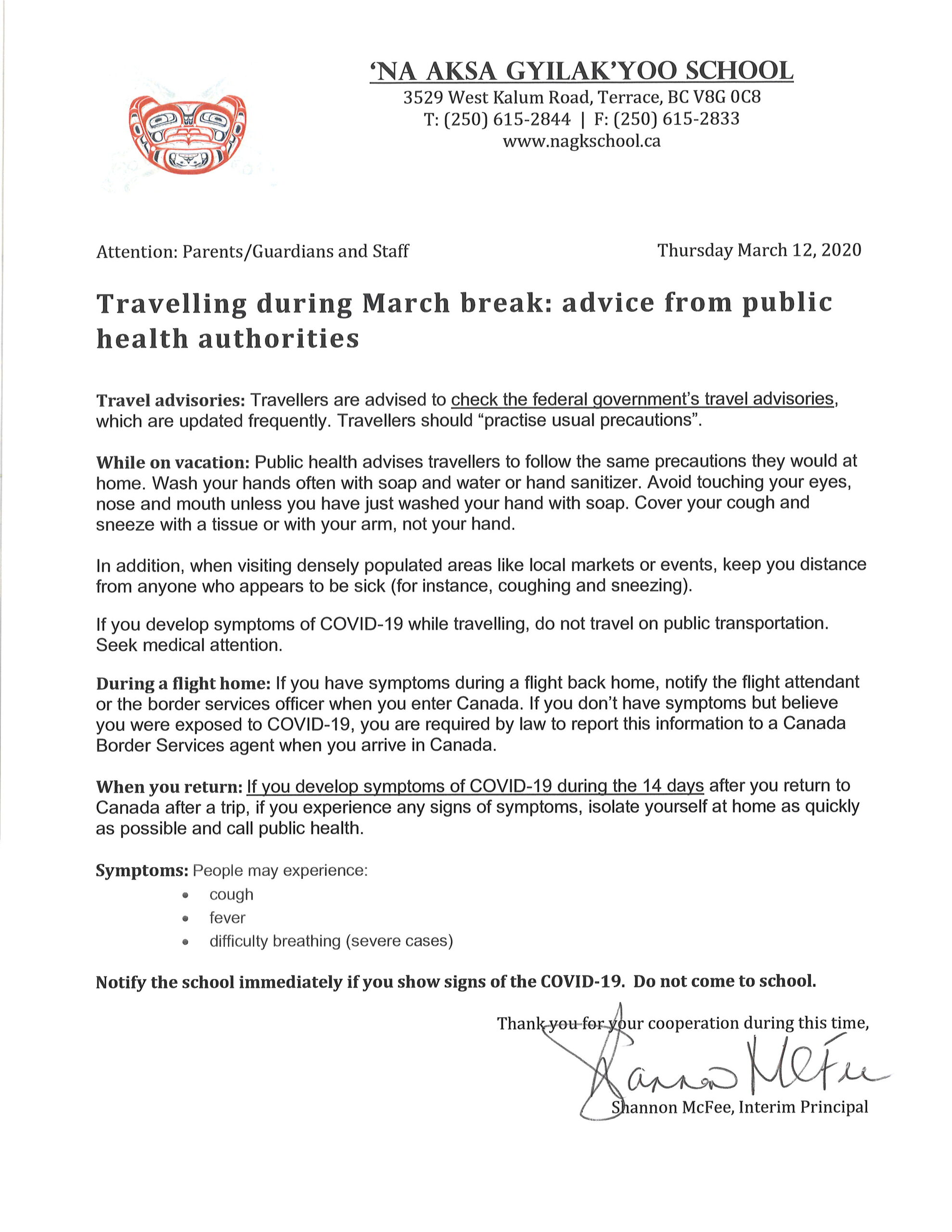 COVID-19 Notice March 12, 2020