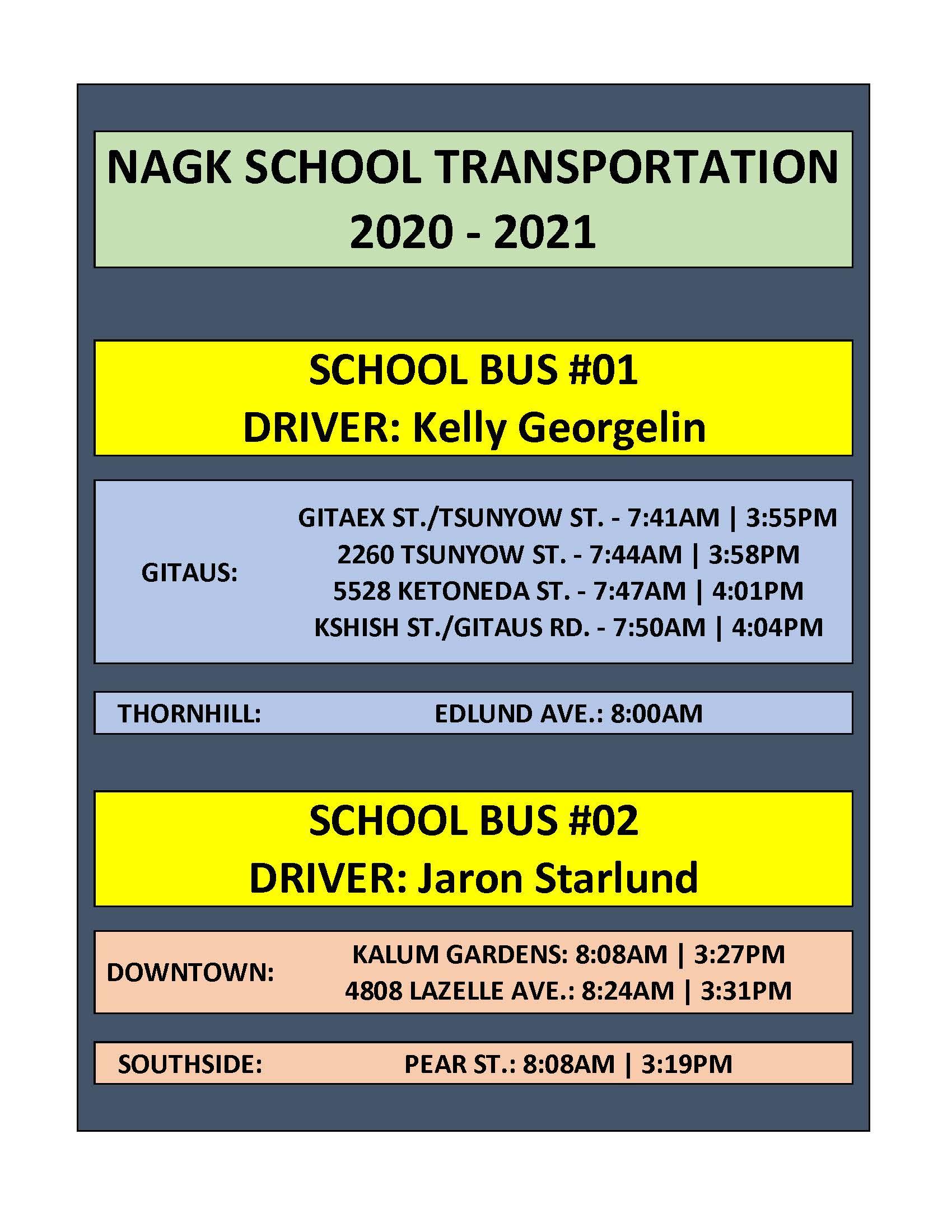 2020-2021 Bus Schedule