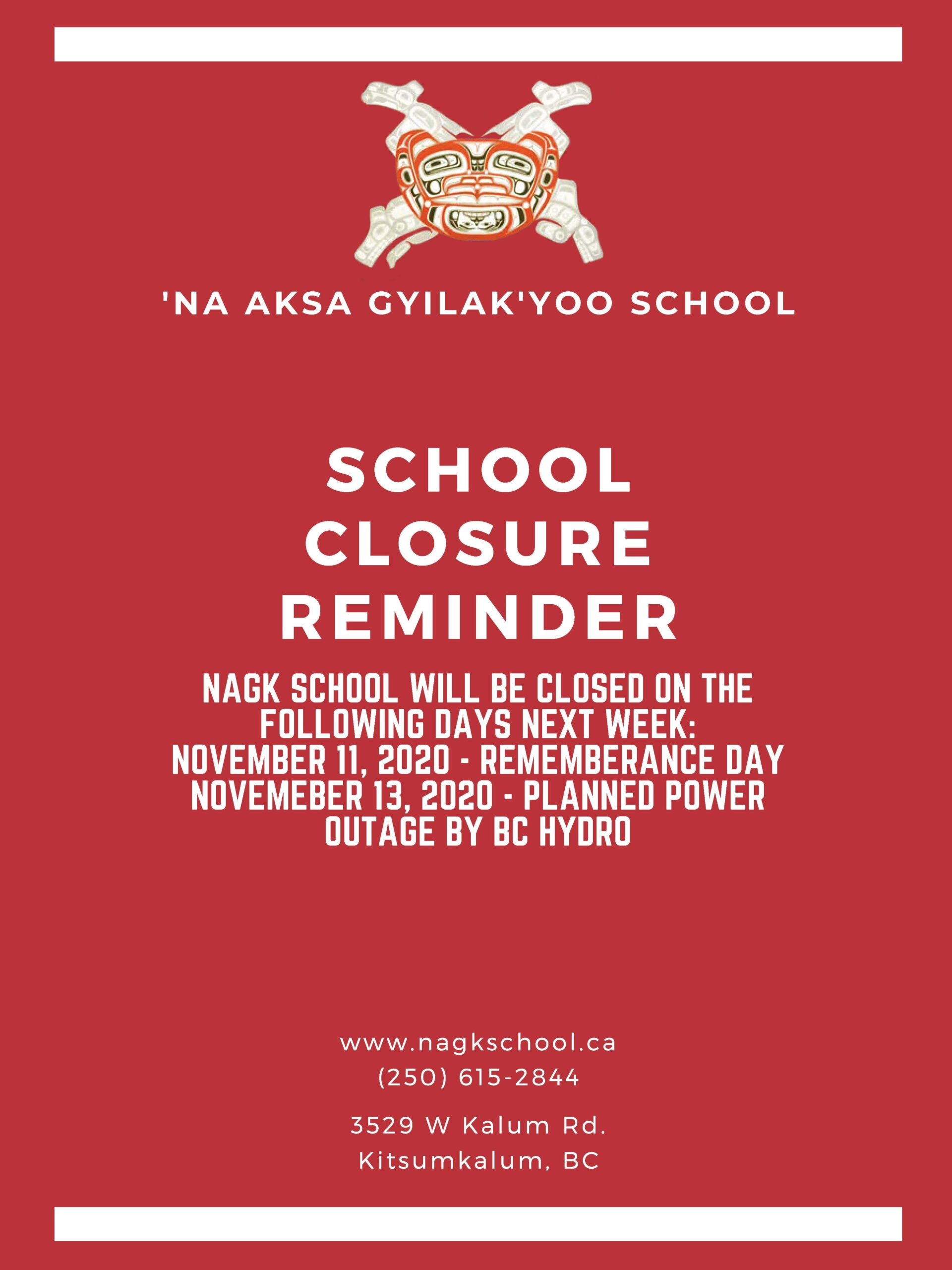November School Closure Reminder