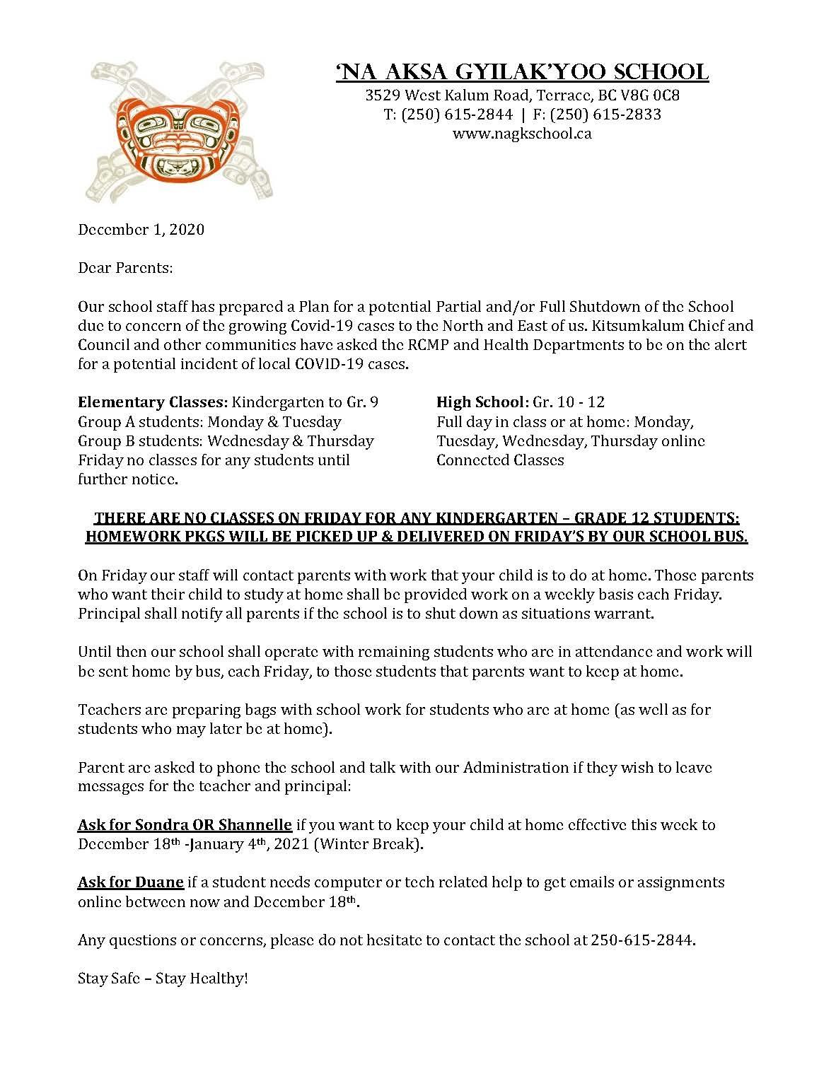 Letter to Parents December 1, 2020