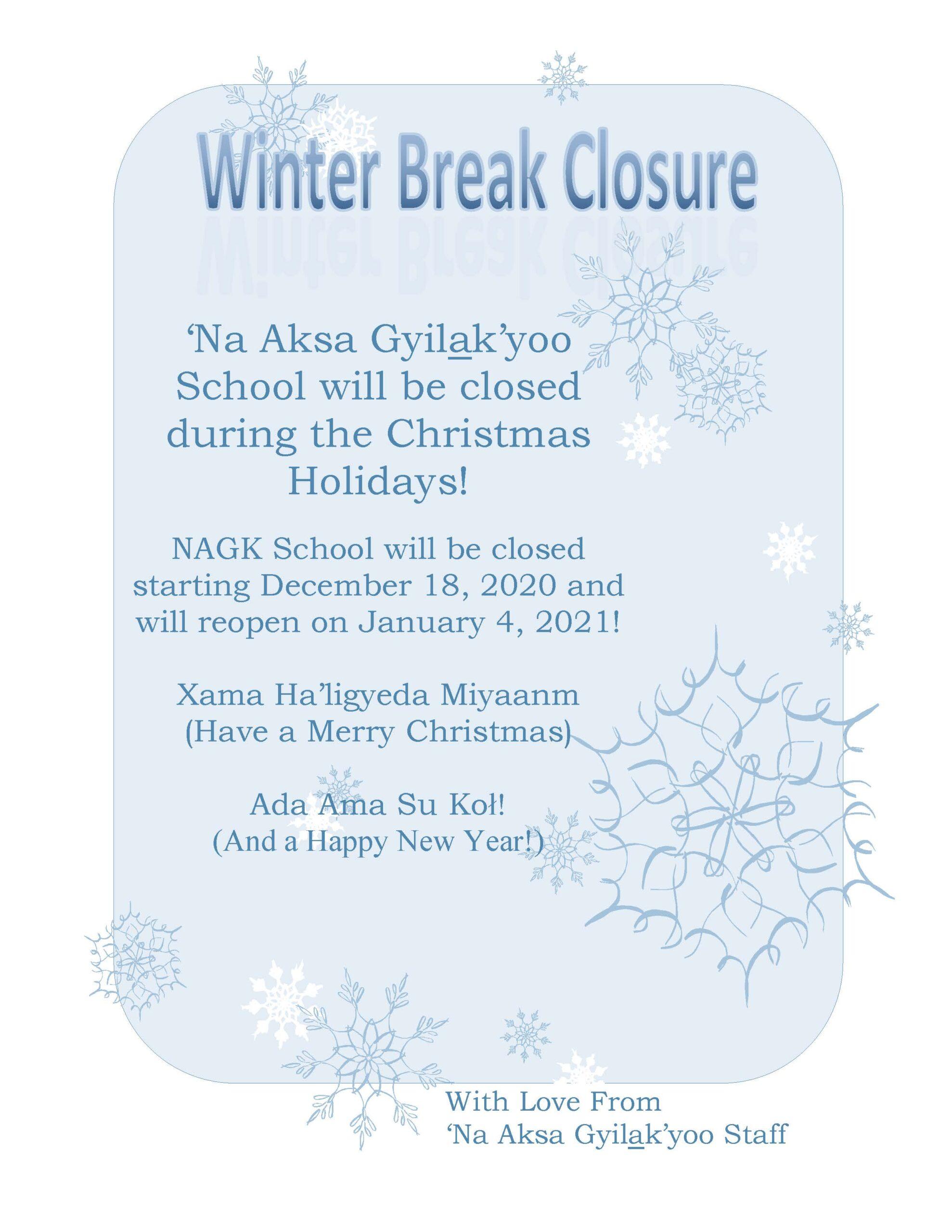 Winter Break Closure 2020