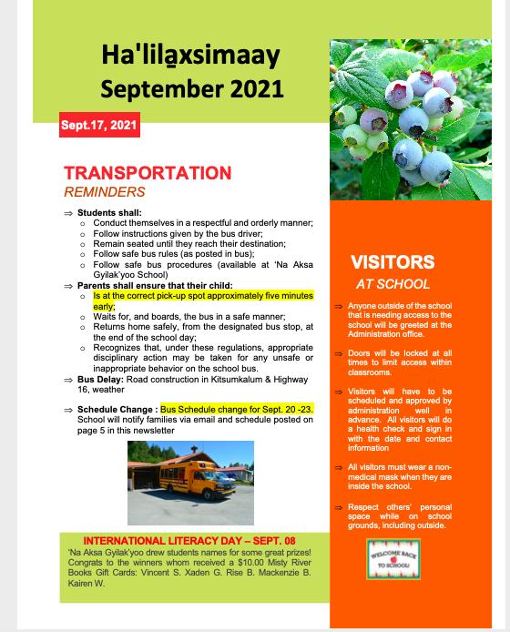 September 20 2021 Newsletter