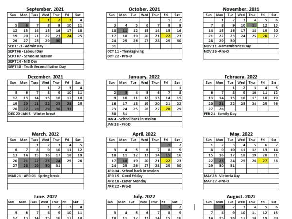 2021-2021 NAGK School Calendar